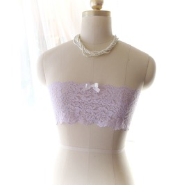 Lilac Purple Lace Bow Semi Sheer Tube Crop Top Bandeau Bralette Daddys Girl