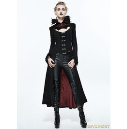 Black And Red Gothic Dark Vampire Queen Style Jacket For Women Ct07302