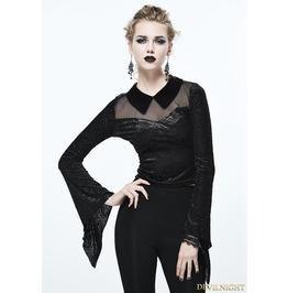 Black Gothic Vintage Short Shirt For Women Tt081