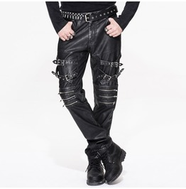 Punk Leather Trousers With Decorative Straps Pt03701/Pt03702