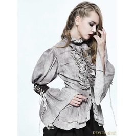 Do Old Style Steampunk Long Bubble Sleeves Blouse For Women Sht025