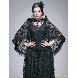 Black Gothic Lace Tassel Shawl Ca013