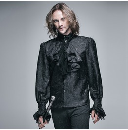 Goth Style Self Design Shirt With Jabot Sht01001/Sht01002