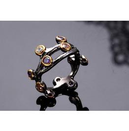 Vintage Black Gun Powder Flower Mix Color Crystal Gothic Ring