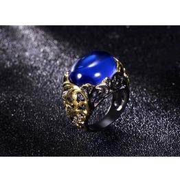 Vintage Black Gun Powder Flower Blue Cabochon Crystal Gothic Ring