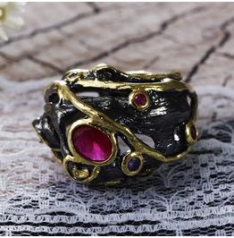 Vintage Black Gun Powder Mix Colors Crystal Gothic Ring