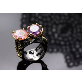 Vintage Black Gun Powder Purple Pink Gothic Ring