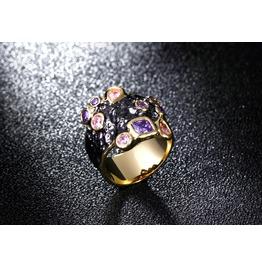Vintage Black Gun Powder Mix Cut Crystal Gothic Ring