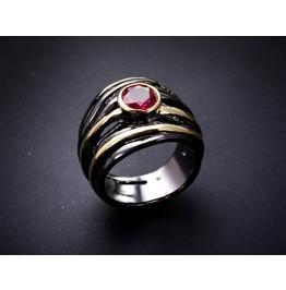 Vintage Black Gun Powder Red Crystal Gothic Ring