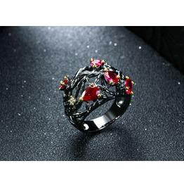 Vintage Black Gun Powder Drop Cut Red Crystal Gothic Ring