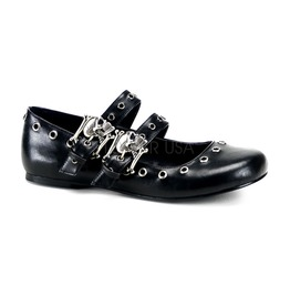 Gothic Punk Mary Jane Flats Chains Skull Buckle Ballet Shoes ( Daisy 03 )