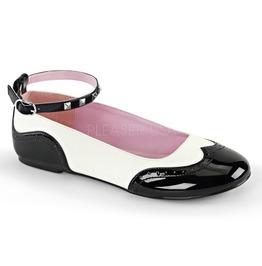 Black White Lolita Kitten Saddle Flat Ballet Shoes ( Star 22 )
