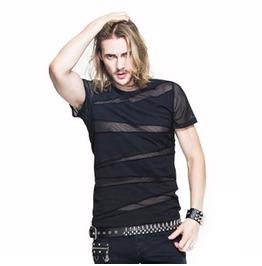 Short Sleeve Mesh Band Punk T Shirt Tt060
