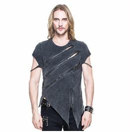 Punk Asymmetric T Shirt With Zip Detailing Tt061
