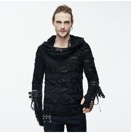 Distressed Ripped Hooded Punk Shirt With Mesh Underlayer Tt084