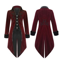 Fashion Mens Tailcoat Jacket Red Velvet Goth Steampunk Aristocrat Long Coat