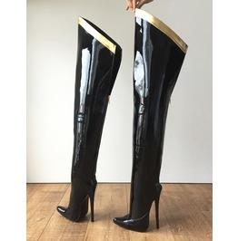 Rtbu Slick 18cm Hard Shaft Gold Ribbon Trim Mid Thigh Boot Patent Black