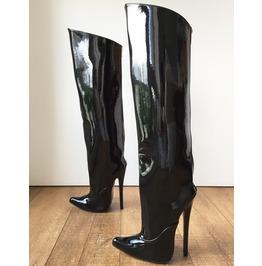 Rtbu Kick 18cm Knee Stiletto Straight Hard Shaft Gold Piping Patent Black