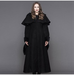 Fur Trimmed Hooded Goth Topcoat Ct02501/Ct02502