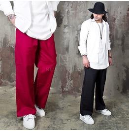 Lettering Accent Loose Fit Cotton Pants 195