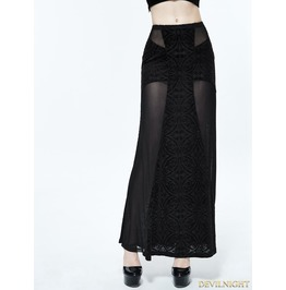 Black Gothic Sexy Cross Long Skirt For Women Skt068