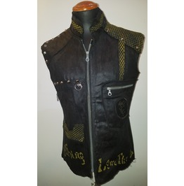 The Doors Jim Morrison Tribute Waxed Black Denim Custom Green Slim Fit Vest