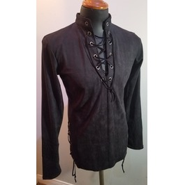 Black Laced Custom Tunic Shirt Suede Slim Fit