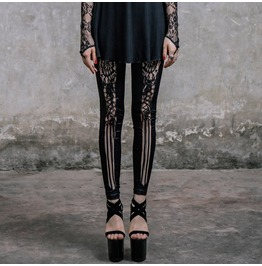 Goth Punk Leggings With Lace Insets Pt005