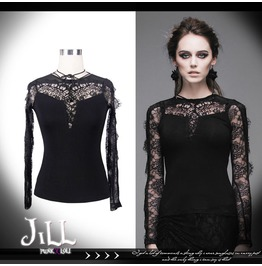 Lolita Goth Princess Diary Black Swan Floral Lace Neck String Blouse Tt012