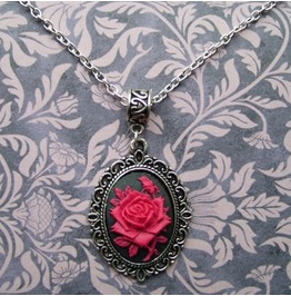 Gothic Victorian Silver Metal Filigree Red Rose Cameo