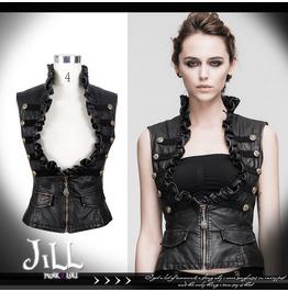 Goth Aristocrat Brigade Low Rise Frill Military Waistcoat Vest Wt00502