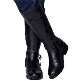 Knee High Zip Up Motorcycle Leather Boots