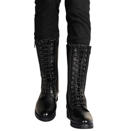 High Calf Black Leather Winter Boots