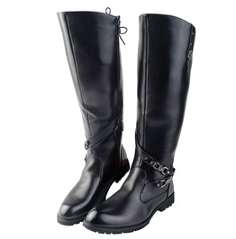 Knee High Round Toe Leather Boots