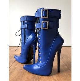 Maid's (W/ Zip) 18cm Stiletto Fetish Boot Double Buckle Strap Matte Blue