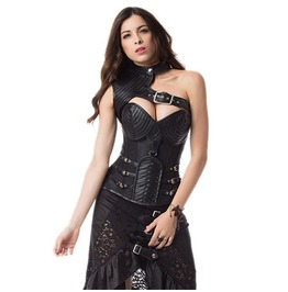 Steampunk Sexy Overbust Corset Black Armor With Bolero Plus Size