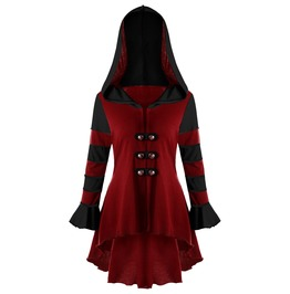 Long Sleeves Red Black Lace Back Hooded Outerwear