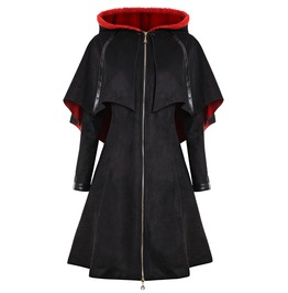 Long Front Zipper Cape Hooded Outerwear