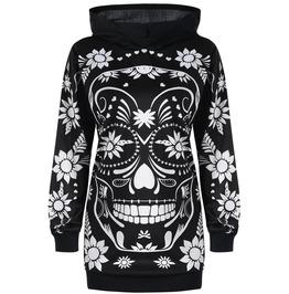 Long Sleeves Printed Skull Hooded Outerwear