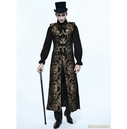 Gold Gothic Vintage Double Breasted Long Vest For Men Ct07401