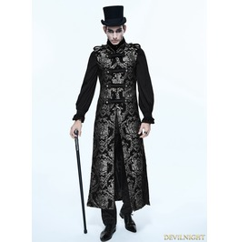 Silver Gothic Vintage Double Breasted Long Vest For Men Ct0740