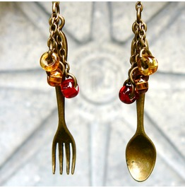 Steampunk Spoon And Fork Earrings Miss Matched Silverware Earrings