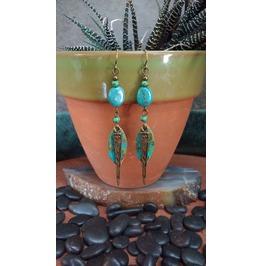 Mixed Metal Earrings W/ Genuine Turquoise, Patina Earrings, Powerful Woman