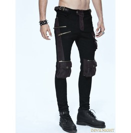 Black And Coffee Gothic Punk Pockets Pants For Men Pt06702