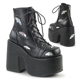 Punk Rock Gothic Combat Chunky Hell Bat Studded Platform Ankle Boots
