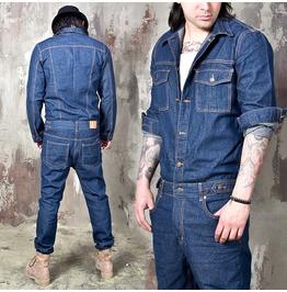 Over Stitched Blue Denim Jumpsuit 343