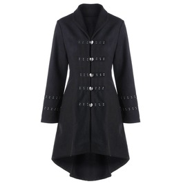 Single Breasted Rivets Studded Lace Back Coat Outerwear