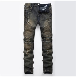 Army Biker Ripped Denim Men Jeans Size Up To 42