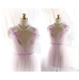 Babydoll Daddys Girl Tunic Light Purple Lilac Tulle Lace Bow Bridal Wedding