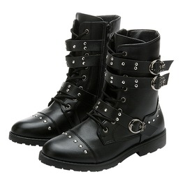 Black Leather Mid High Riding Boots